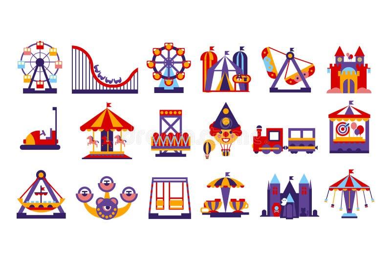 Elementos del parque de atracciones, noria, circo, carrusel, ejemplo del vector del sistema de las atracciones stock de ilustración