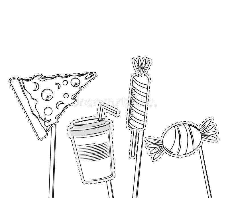 Elementos del partido del apoyo de la cabina stock de ilustración