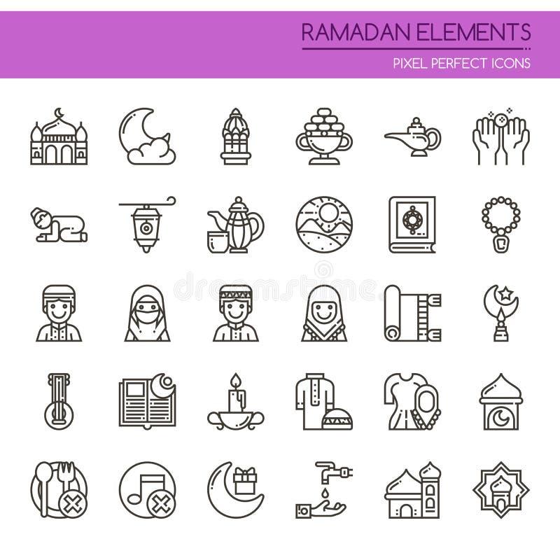 Elementos del Ramadán stock de ilustración