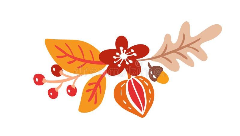 Elementos del ramo del otoño del vector las hojas anaranjadas del arce, bayas ponen completamente la composición aislada en el fo ilustración del vector