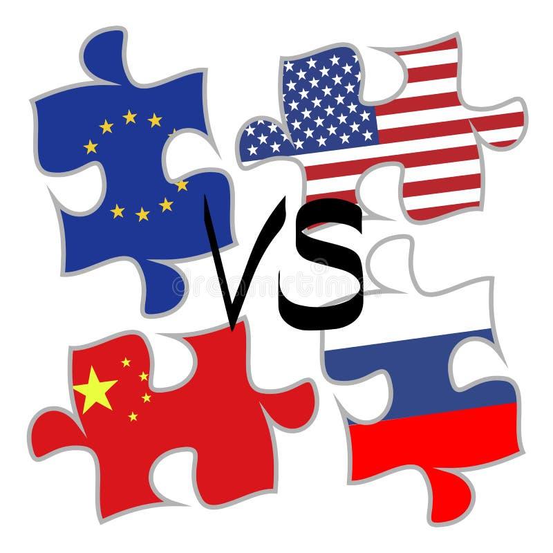 Elementos del rompecabezas del concepto de la guerra comercial ilustración del vector