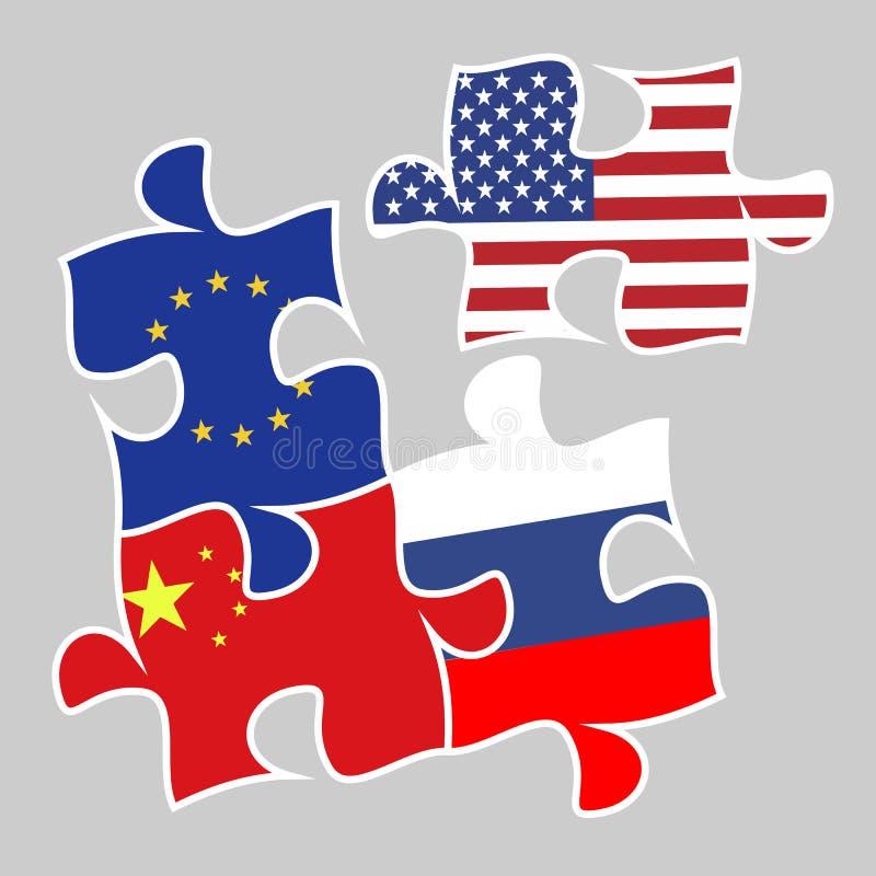 Elementos del rompecabezas del concepto de la guerra comercial con las banderas stock de ilustración