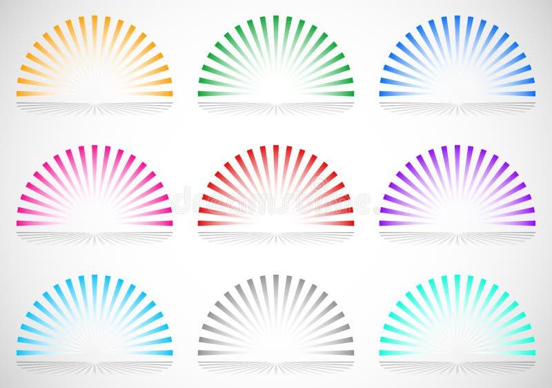 elementos del starburst/del resplandor solar del círculo de 6 colores semi stock de ilustración