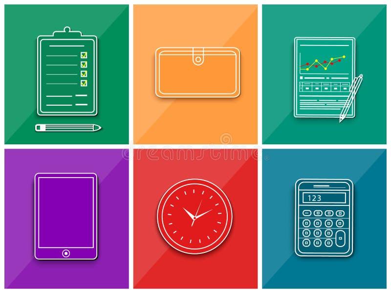 Elementos del trabajo del negocio stock de ilustración