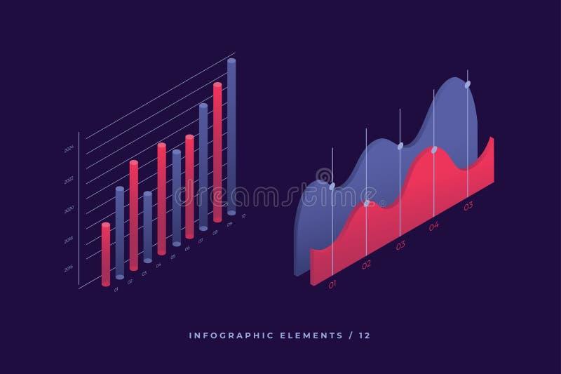 Elementos del vector de Infographic Ejemplo de los gráficos o de los diagramas financieros, estadística de los datos de los datos libre illustration