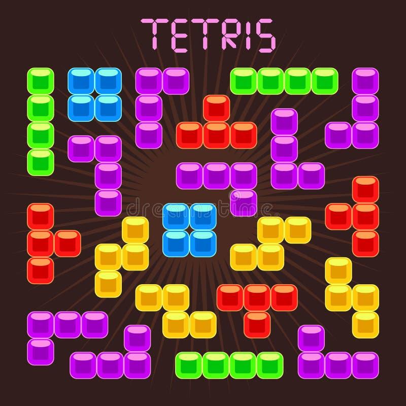 Elementos del vector de Tetris en estilo plano del diseño ilustración del vector