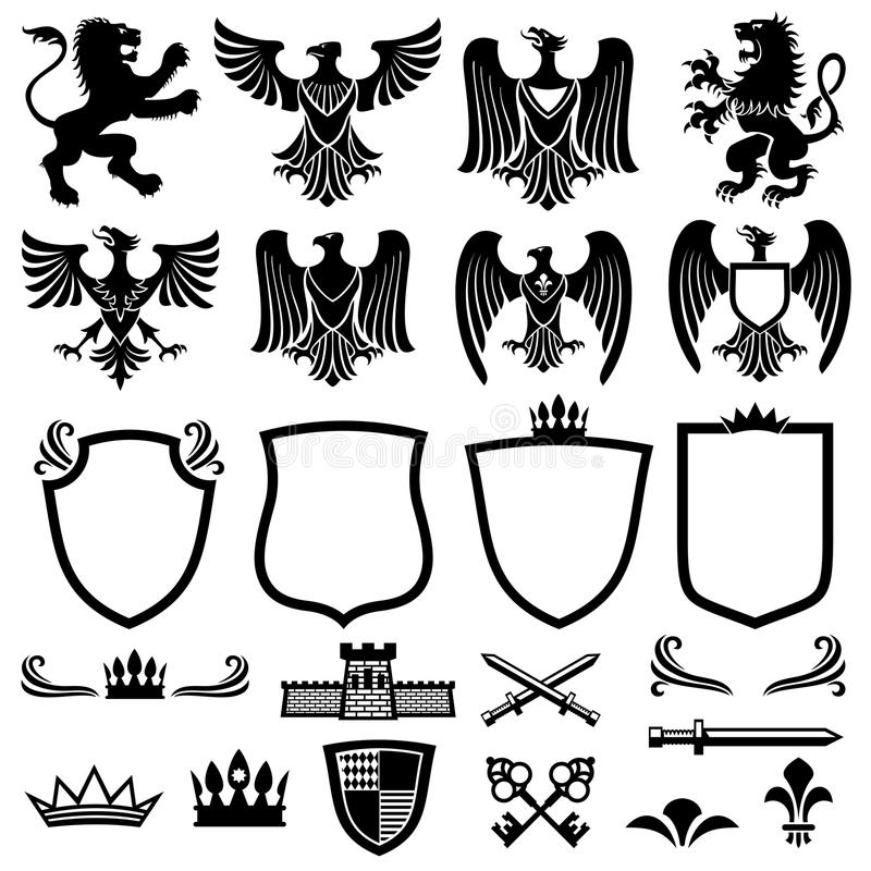 Elementos del vector del escudo de armas de la familia para los emblemas reales heráldicos stock de ilustración