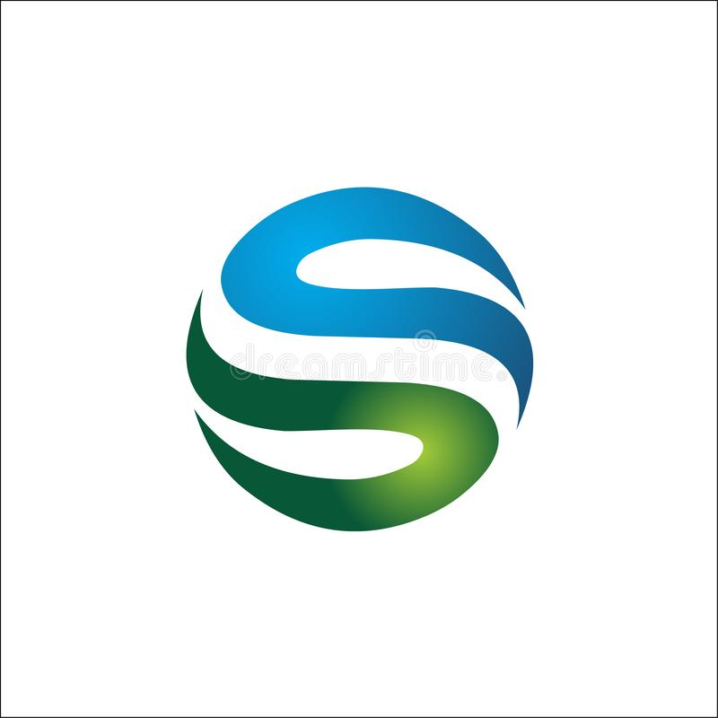 Elementos del vector del extracto del logotipo de las iniciales del círculo S stock de ilustración