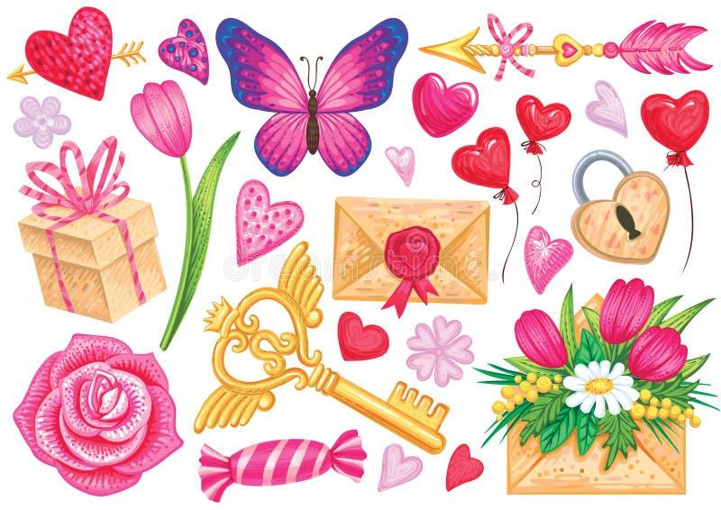 Elementos del vector para el diseño romántico o día de San Valentín Ejemplos brillantes de la historieta ilustración del vector