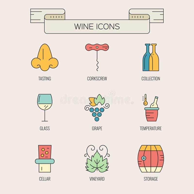 Elementos del vino ilustración del vector