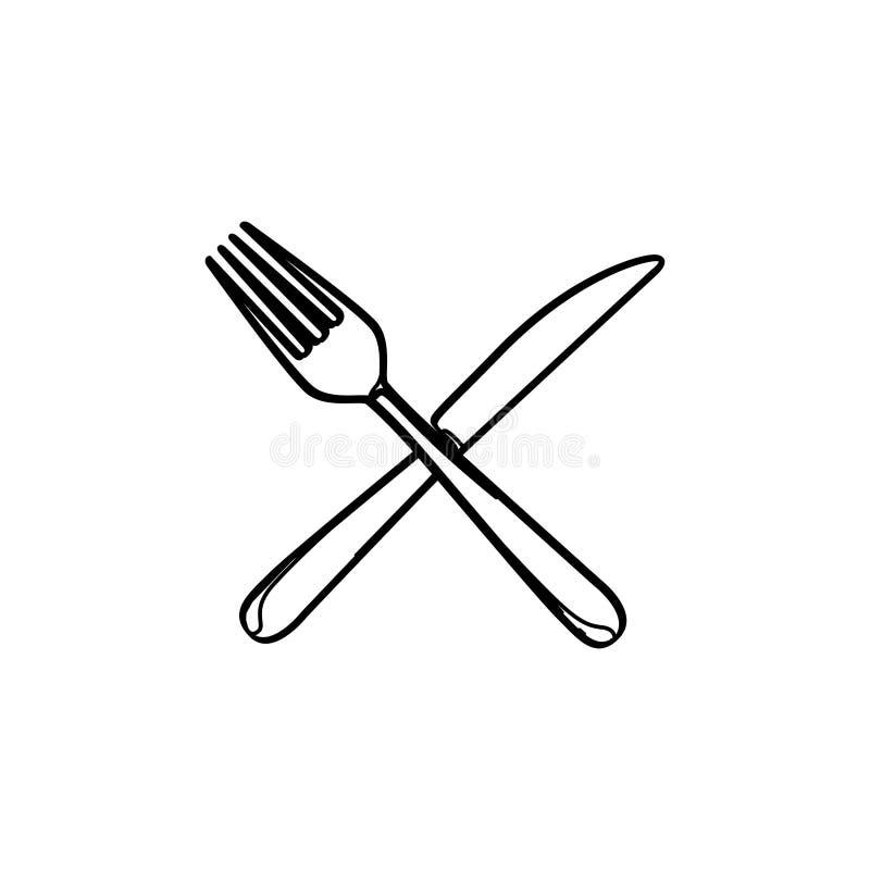 elementos determinados de la cocina del cuchillo y de la bifurcación de los cubiertos de la silueta stock de ilustración