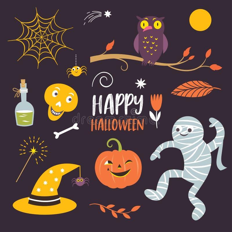 Elementos determinados del diseño de Halloween del vector ilustración del vector