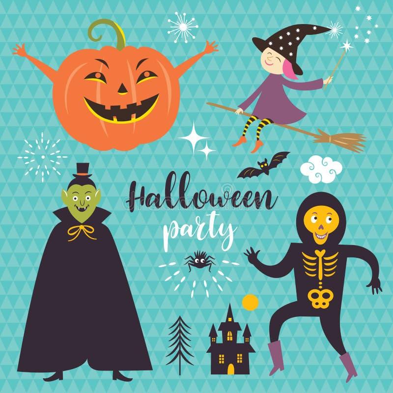 Elementos determinados del diseño de Halloween del vector stock de ilustración