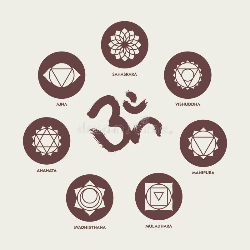 Elementos determinados del icono de Chakra y caligrafía de OM ilustración del vector
