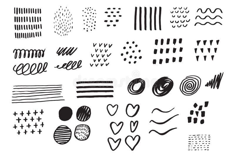 Elementos determinados dibujados mano Garabato del negocio Bosquejo drenado mano sig stock de ilustración