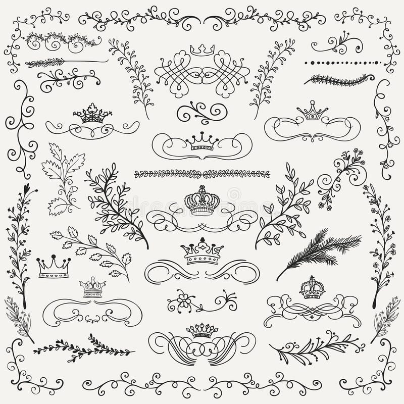 Elementos dibujados del diseño floral de la mano negra del vector libre illustration