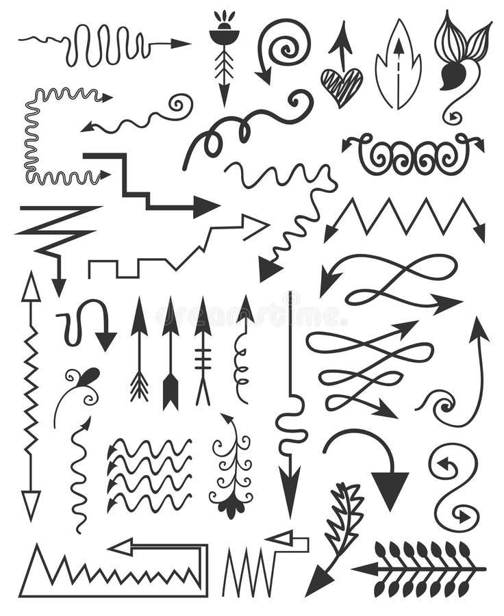 Elementos dibujados mano stock de ilustración