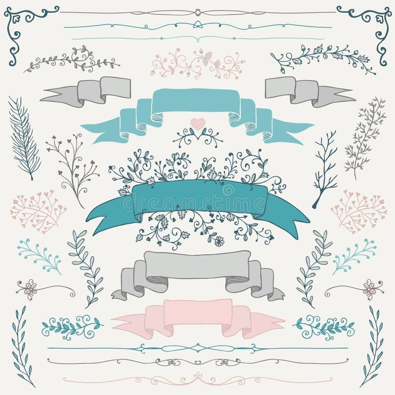 Elementos dibujados mano colorida del diseño floral del vector ilustración del vector