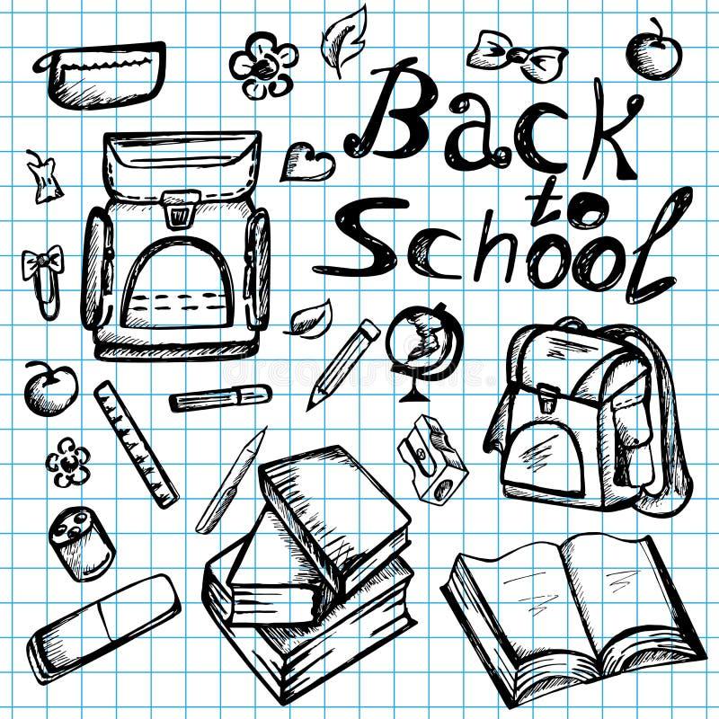 Elementos dibujados mano de la escuela en sketchbook alineado stock de ilustración