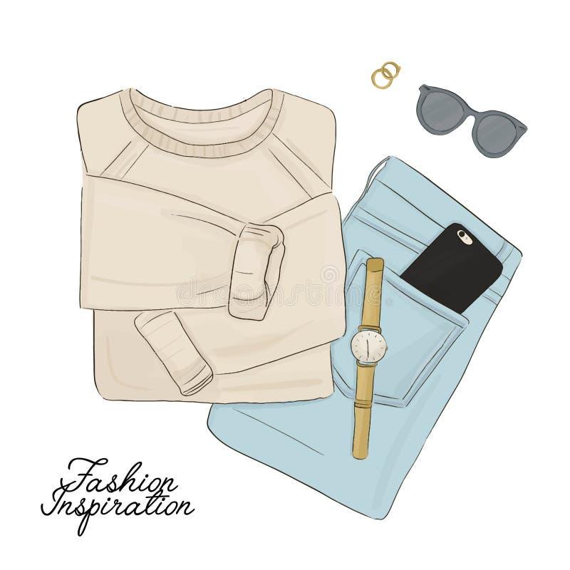 Elementos dibujados mano de la moda Suéter, vaqueros, accesorios flatlay Sistema casual para mujer hermoso del equipo Calle del o ilustración del vector