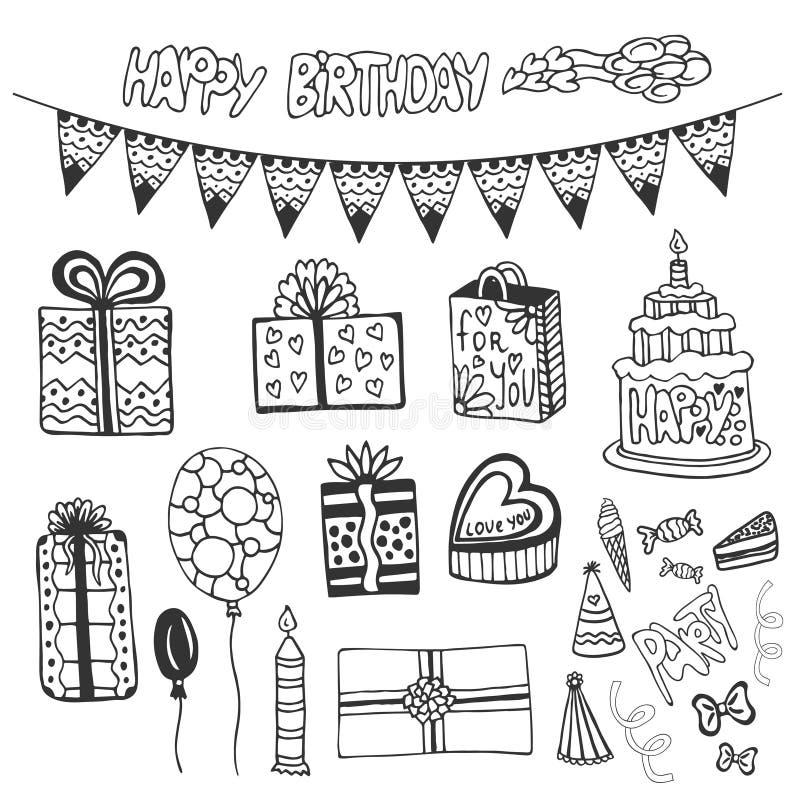 Elementos dibujados mano del cumpleaños El garabato fijó con las tortas de cumpleaños, la caja de regalo, los globos y otro los e stock de ilustración