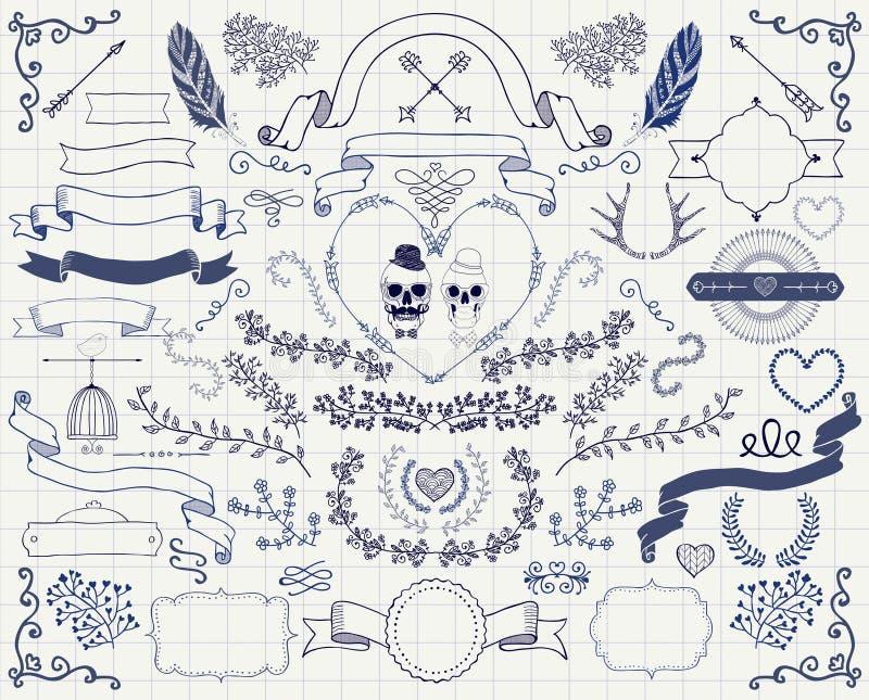 Elementos dibujados mano del diseño del garabato del vintage del vector libre illustration
