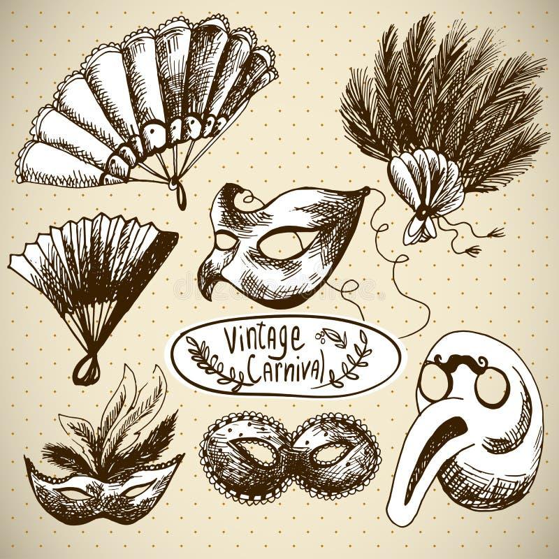 Elementos dibujados mano del diseño del vector del carnaval stock de ilustración