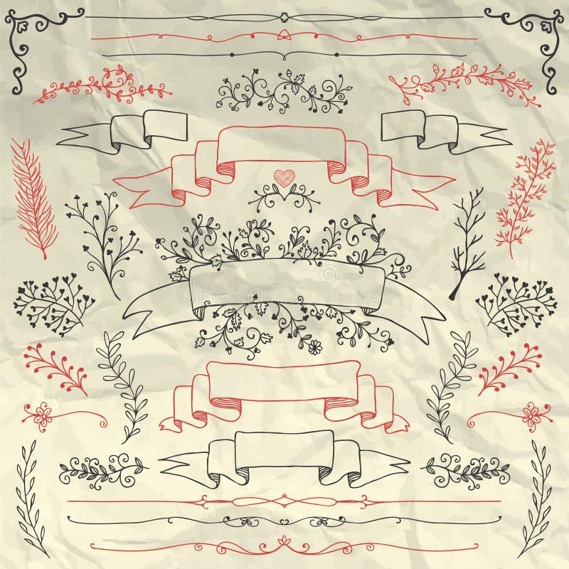 Elementos dibujados mano del diseño floral en arrugado libre illustration