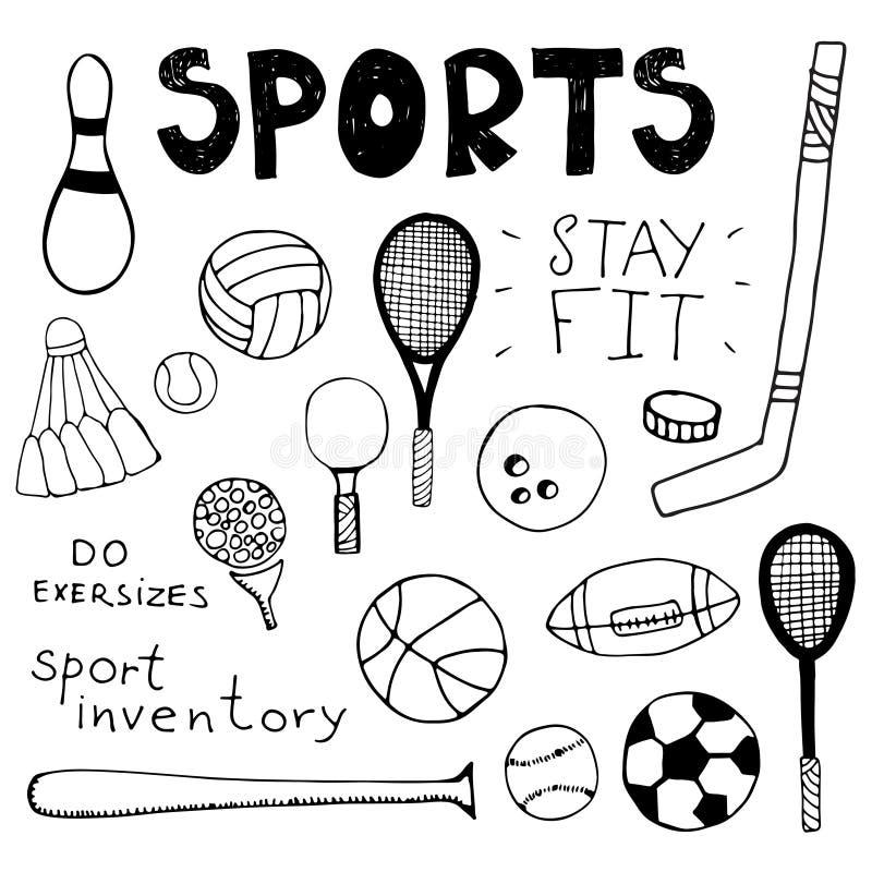 Elementos dibujados mano del garabato Inventario del deporte libre illustration