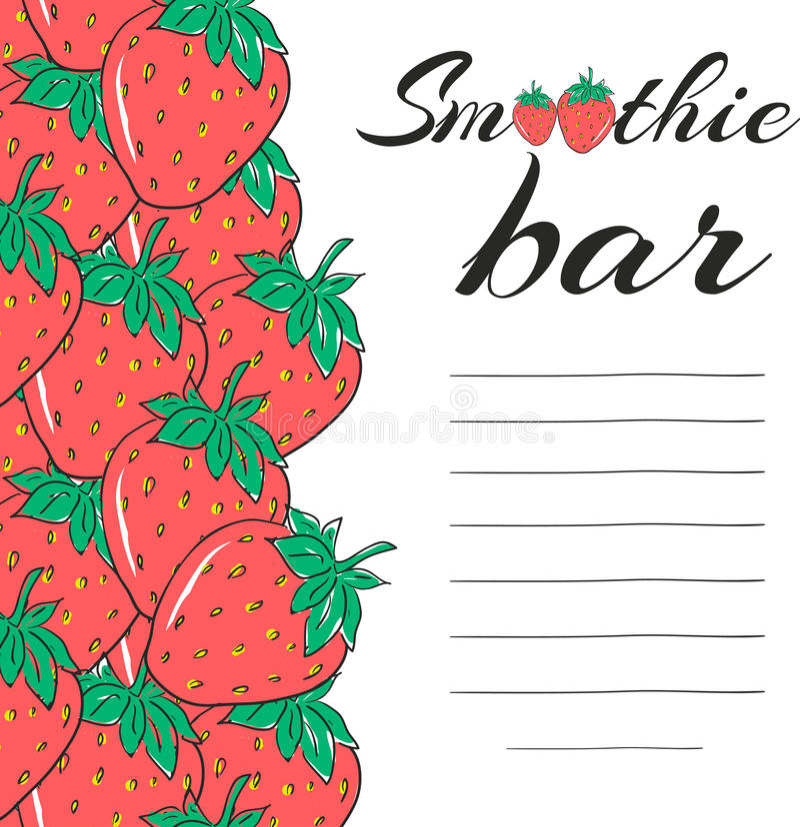Elementos dibujados mano del menú del restaurante Barra del Smoothie con la fresa Bebida vegetariana sana Vector stock de ilustración