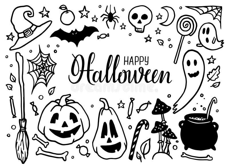 Elementos dibujados mano del partido de Halloween Garabatos de Halloween Sistema de las calabazas de Halloween, sombrero de la br ilustración del vector