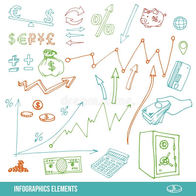 Elementos dibujados mano para infographic libre illustration