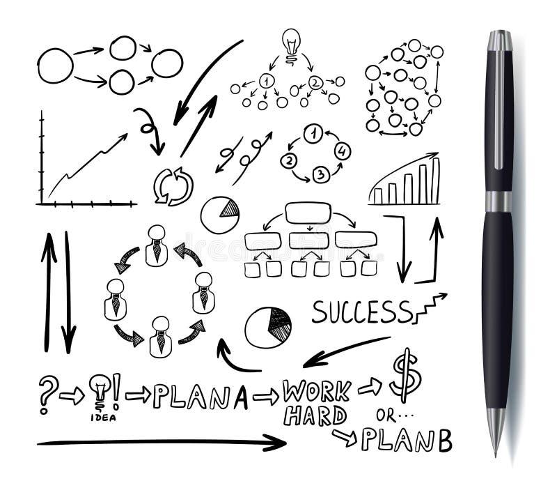 Elementos dibujados negocio con la pluma negra realista, garabatos fijados, dibujos negros Isoalted del vector libre illustration