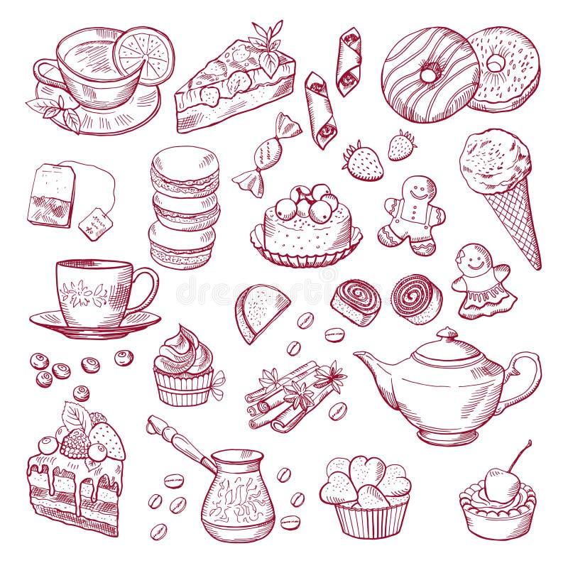 Elementos diferentes do chá e do café Doces, queques Ilustrações tiradas mão do vetor ilustração royalty free