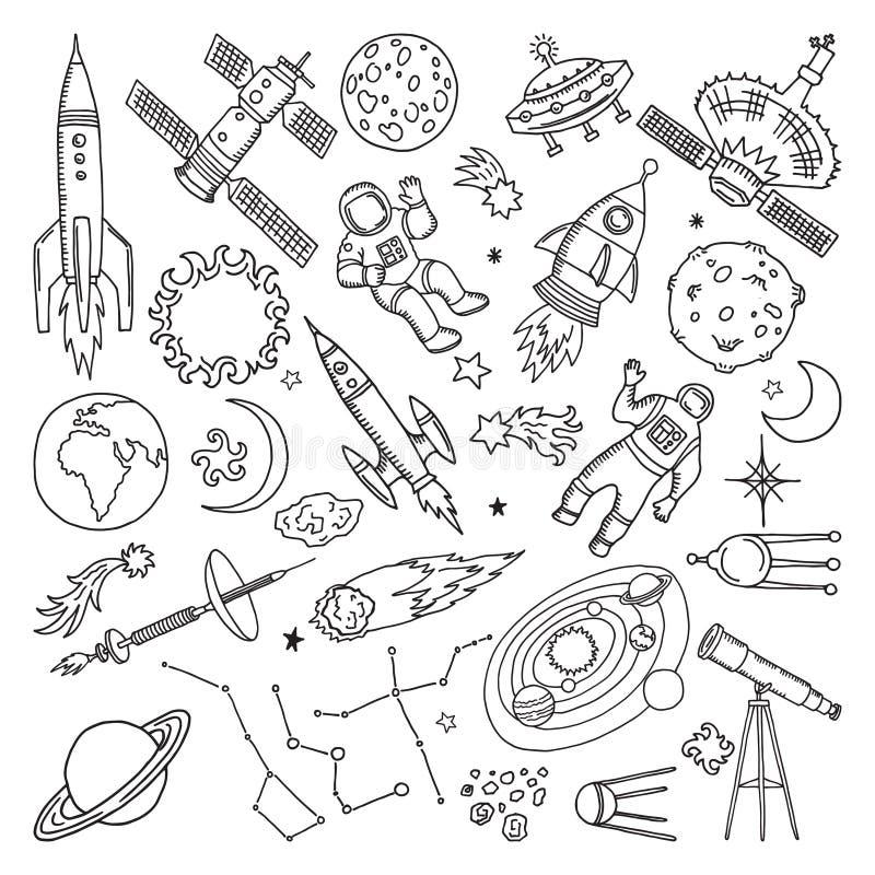 Elementos diferentes do universo da garatuja Planetas, sol, terra e lua Ilustrações tiradas mão do vetor ilustração do vetor