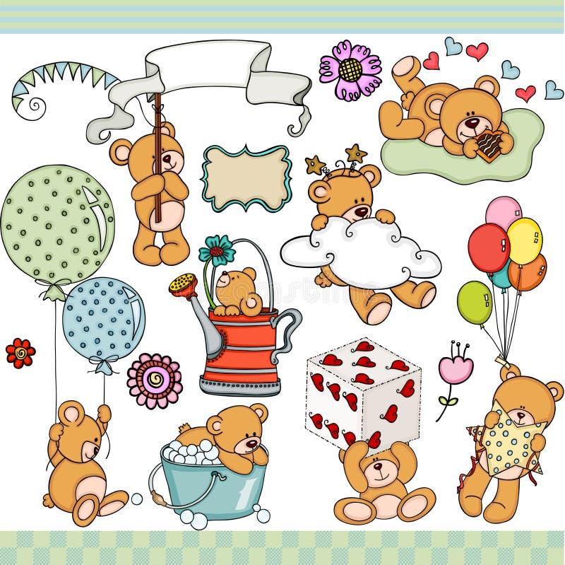 Elementos digitais ajustados felizes do urso de peluche ilustração do vetor