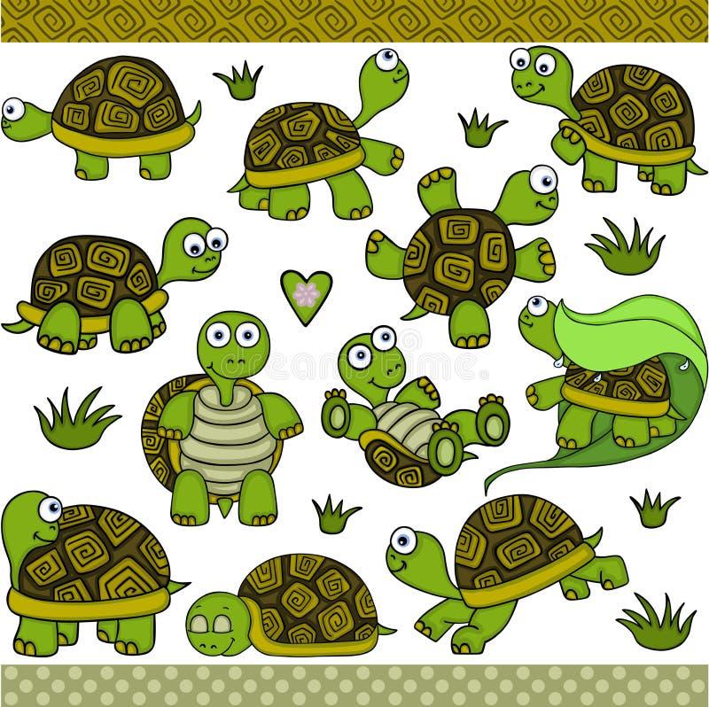 Elementos digitales determinados de la tortuga linda stock de ilustración
