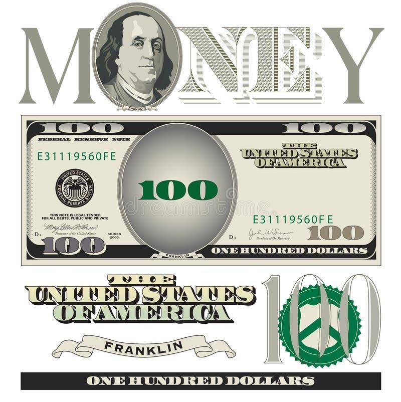 100 elementos diversos del billete de dólar ilustración del vector