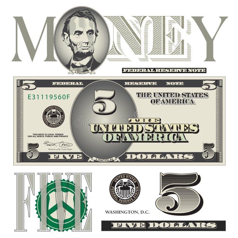 5 elementos diversos del billete de dólar ilustración del vector