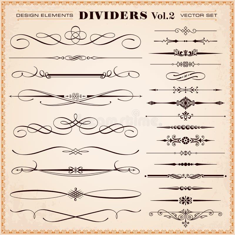 Elementos, divisores y rociadas caligráficos del diseño ilustración del vector