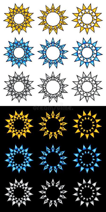 Elementos do ícone e do logotipo de Sun ilustração do vetor