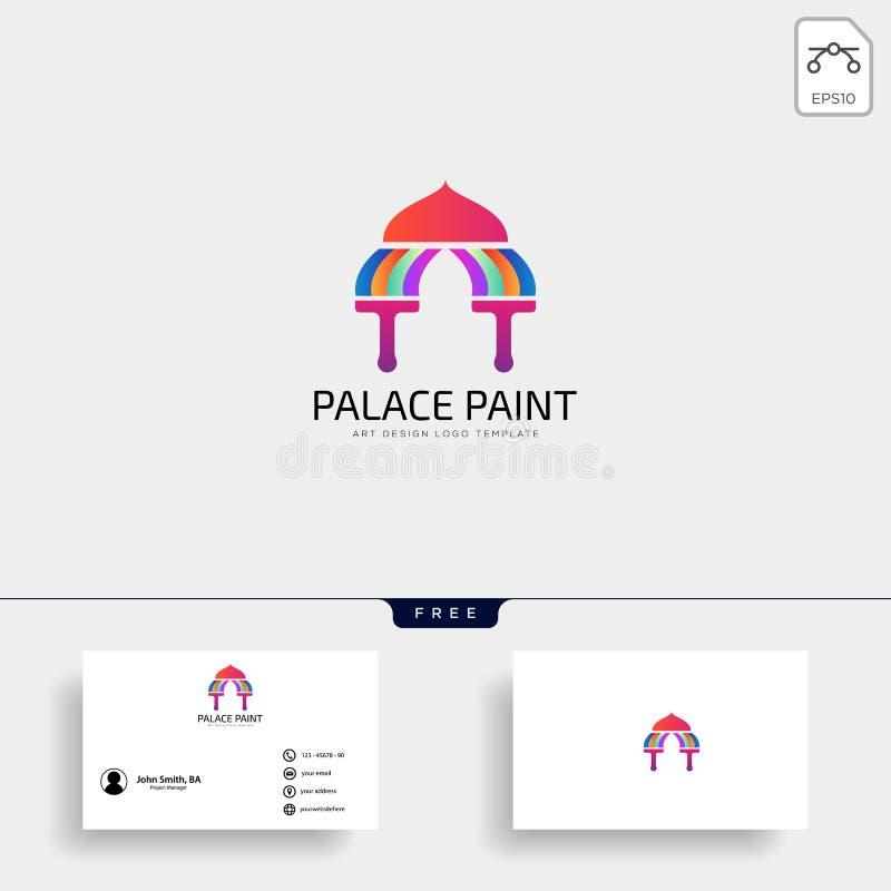 elementos do ícone do vetor do molde do logotipo da pintura da escova do palácio ilustração stock