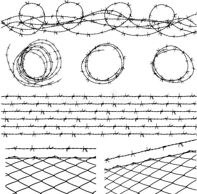 Elementos do arame farpado ilustração stock