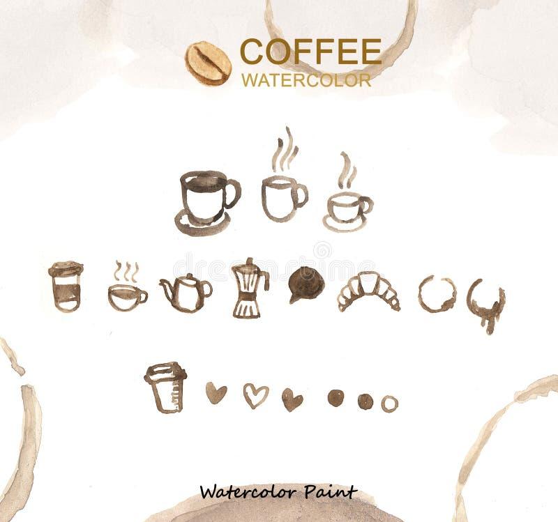 Elementos do café, alta resolução da pintura da aquarela foto de stock
