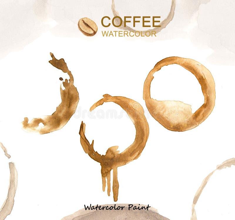 Elementos do café, alta resolução da pintura da aquarela fotografia de stock