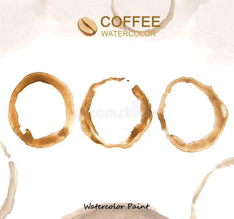 Elementos do café, alta resolução da pintura da aquarela fotografia de stock royalty free