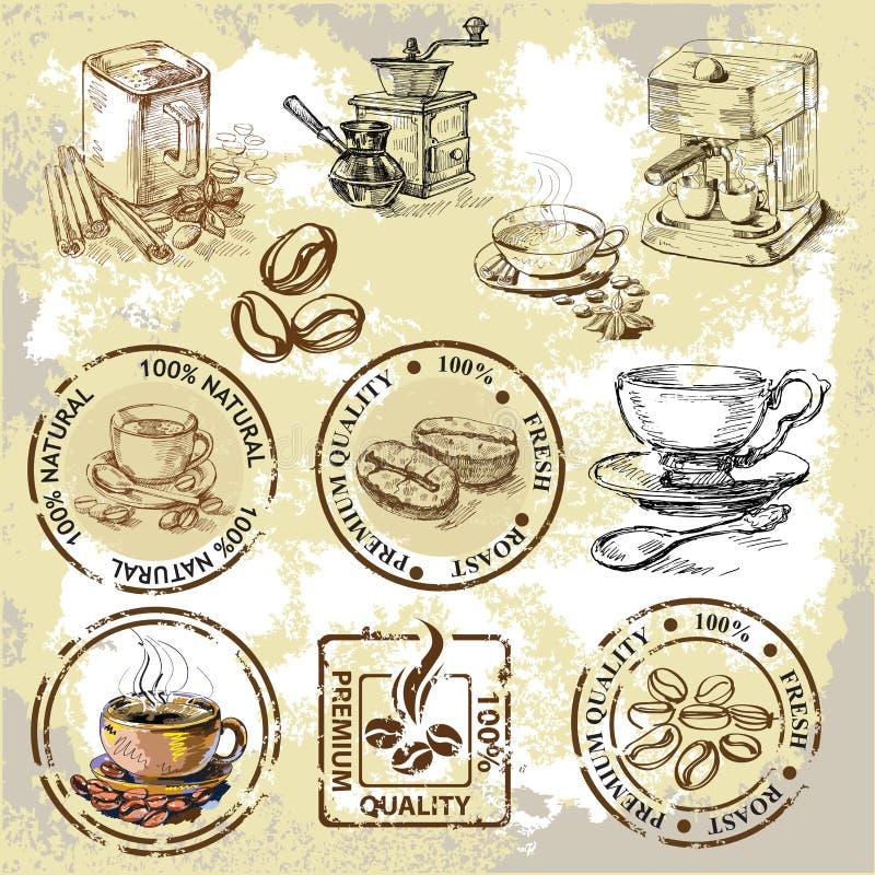 Elementos do café do vetor ilustração do vetor
