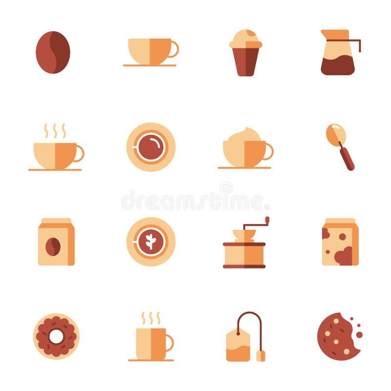 Elementos do café e acessórios do café ilustração do vetor