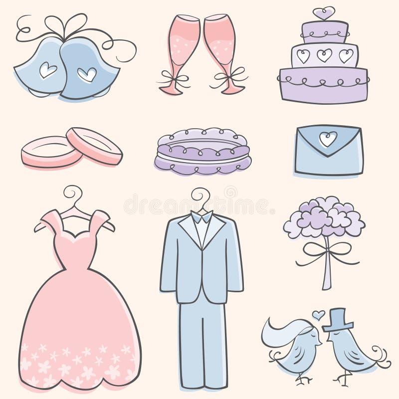 Elementos do casamento do Doodle ilustração do vetor