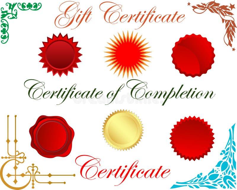 Elementos do certificado ilustração stock